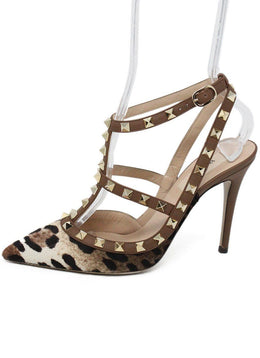 Valentino Brown Animal Print Leather Fur Studded Shoes 1