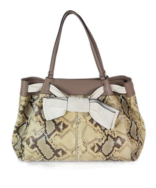Valentino brown beige snake skin taupe Tote 1