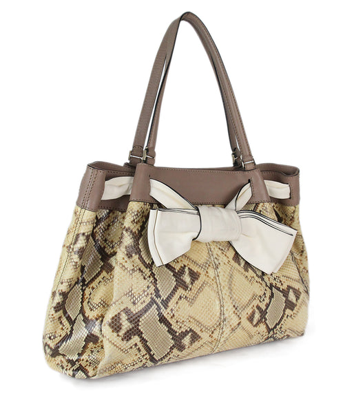 Valentino brown beige snake skin taupe Tote 2