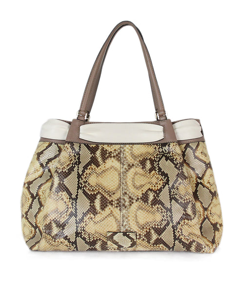 Valentino brown beige snake skin taupe Tote 3