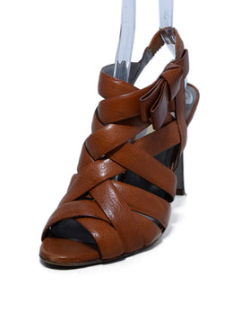 Valentino Brown Tobacco Leather Strappy Heels, Sz. 38 | Valentino