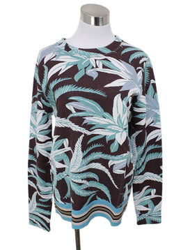 Valentino Brown White Aqua Floral Viscose Sweater