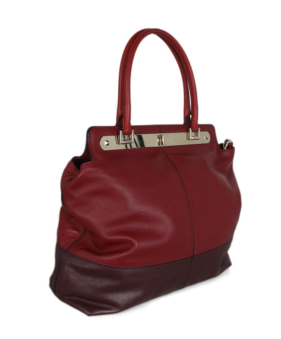 Valentino burgundy leather Tote 2