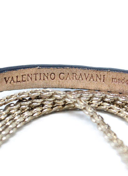 Valentino Gold Chain Black Leather Belt