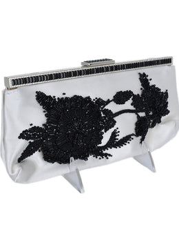 Valentino Ivory Silk Black Beaded Flower Clutch Handbag 2