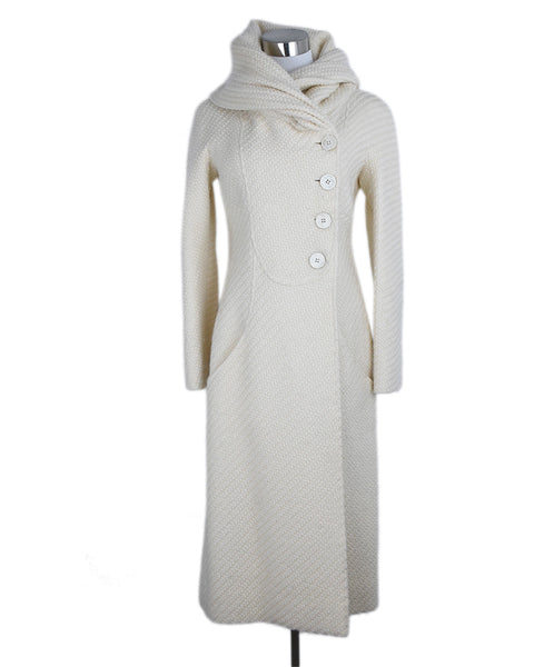 Valentino Neutral Beige Wool Long Coat Outerwear 1