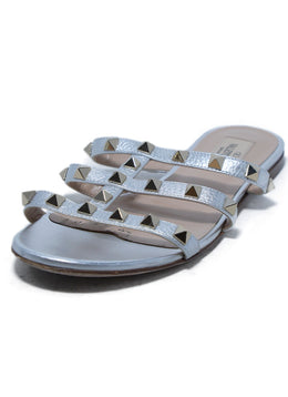 Valentino Metallic Silver Leather Grommet Stud Slides Sandals 1