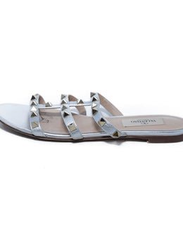 Valentino Metallic Silver Leather Grommet Stud Slides Sandals 2
