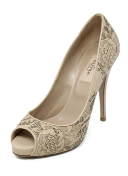 Valentino Neutral Beige Cutwork Leather Shoes