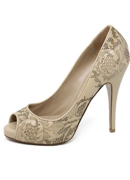 Valentino Beige Cutwork Leather Heels Size 7