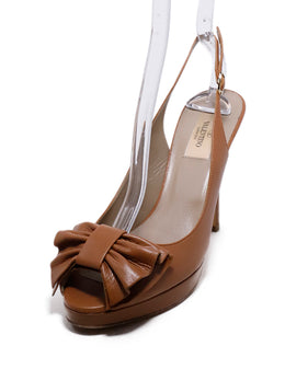 Valentino Neutral Tan Leather Bow Peep Toe Heels 1