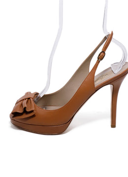 Valentino Neutral Tan Leather Bow Peep Toe Heels 2