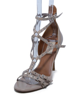 Valentino Neutral Tan Leather Grommet Sandals 1