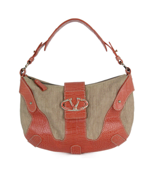Valentino orange beige pressed leather canvas bag 1