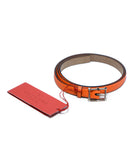 Valentino Orange Leather Gold Buckle Belt 1