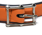 Valentino Orange Leather Gold Buckle Belt 6