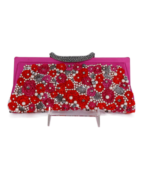Valentino Pink Red Satin Floral Pearl Rhinestones Clutch 1