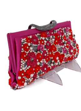 Valentino Pink Red Satin Floral Pearl Rhinestones Clutch 2