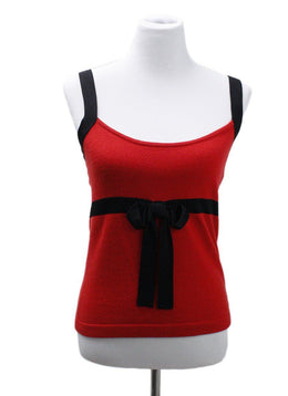 Valentino Red Black Cashmere Top