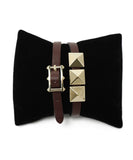 Valentino Red Burgundy Leather Gold Studs Jewelry Bracelet 1
