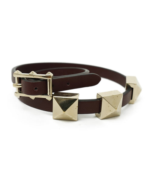 Valentino Red Burgundy Leather Gold Studs Jewelry Bracelet 2