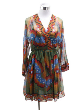 Valentino Red Multi Silk Blue Dress