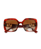 Valentino Red Plastic  Gold Trim Sunglasses 1