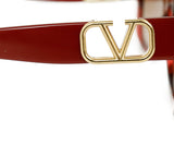 Valentino Red Plastic  Gold Trim Sunglasses 4