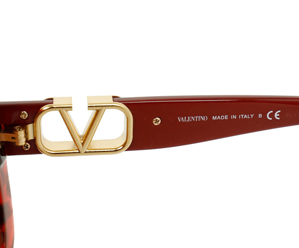 Valentino Red Plastic  Gold Trim Sunglasses 5