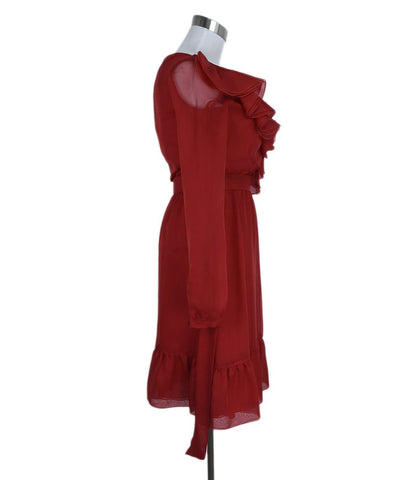 Valentino Red Silk Ruffle Trim Evening Dress 1