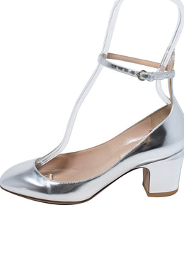 Valentino Silver Leather Flats 2