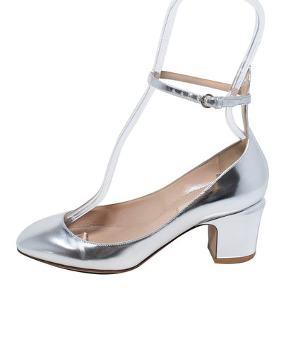 Valentino Silver Leather Flats 1