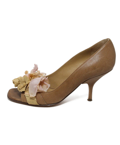 Valentino Tan Leather Pink Beige Floral Heels 1