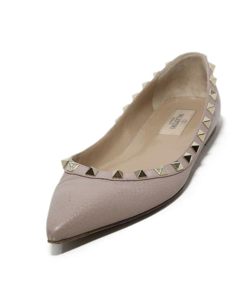 Valentino taupe leather studs flats 1