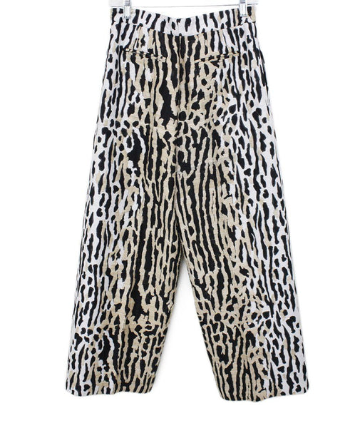 Valentino White Black Tan Leopard Print Viscose Pants Sz 6