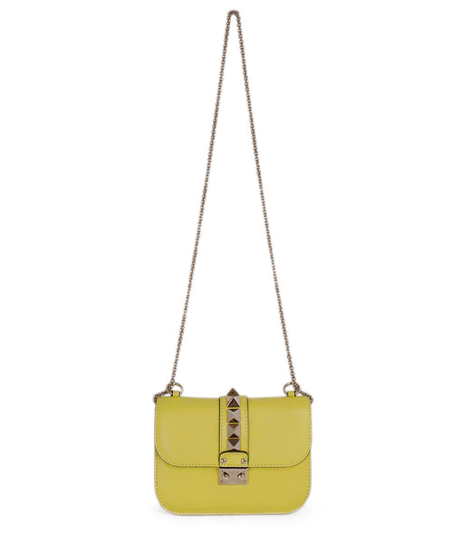 Valentino Yellow Leather Lock Medium Crossbody Handbag 1
