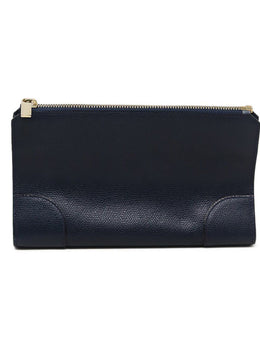 Valextra Navy Leather Cosmetic Pouch