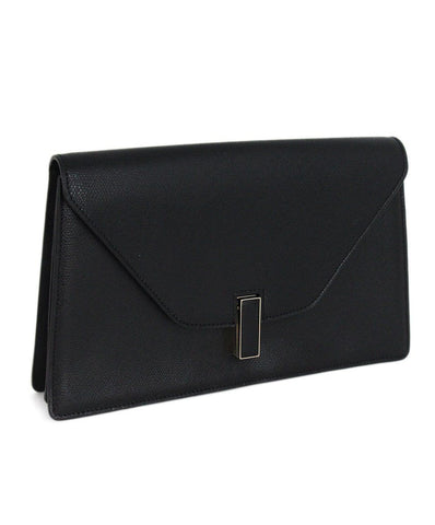 Valextra black leather clutch 1