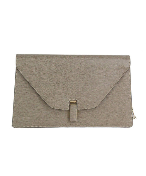 Valextra neutral taupe leather clutch 1