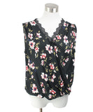 Velvet Black White Floral Viscose Top 1