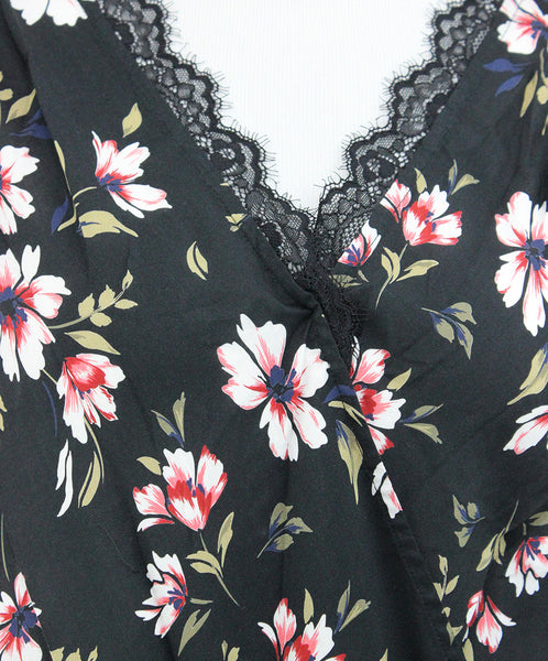 Velvet Black White Floral Viscose Top 5