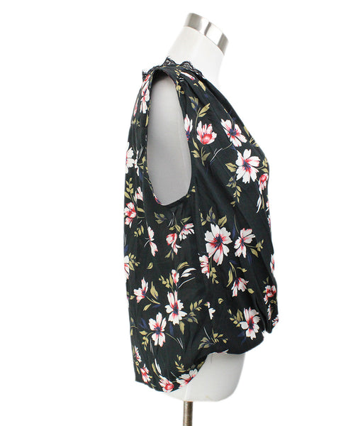 Velvet Black White Floral Viscose Top 2