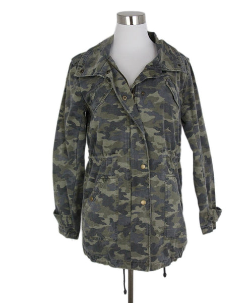 Velvet Green Camouflage Cotton Coat 1