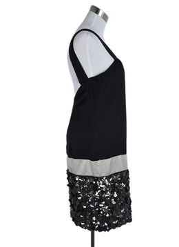 Vera Wang Black Silk Champagne Sequins Evening Dress 2
