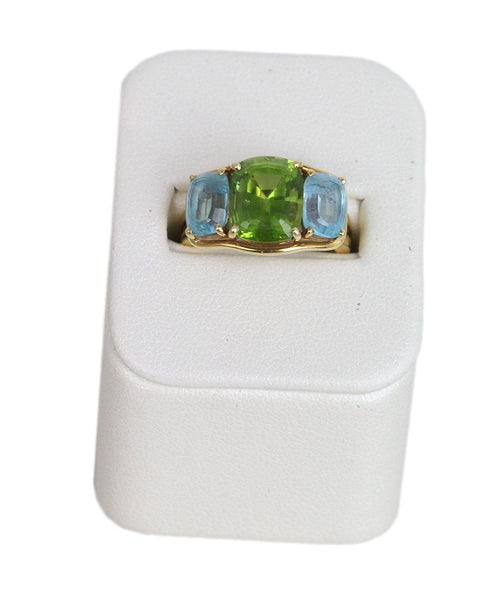 Verdura 18K Gold Peridot Blue Topaz Ring 1