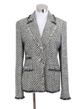 Veronica Beard Black White Yellow Tweed Jacket
