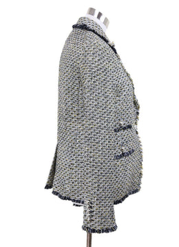 Veronica Beard Black White Yellow Tweed Jacket 1