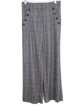 Veronica Beard Black White Purple Plaid Wool Pants 1