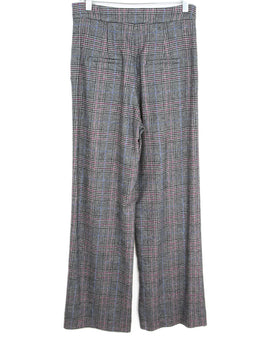 Veronica Beard Black White Purple Plaid Wool Pants 2