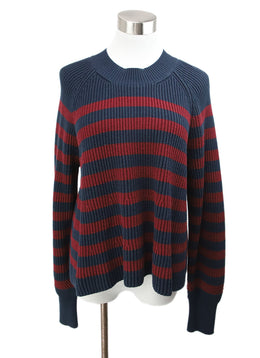Veronica Beard Navy Burgundy Stripes Cotton Sweater 1